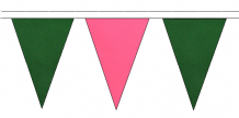 DARK GREEN AND PINK TRIANGULAR BUNTING - 10m / 20m / 50m LENGTHS